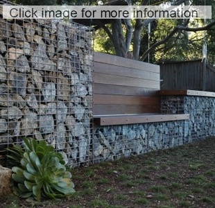 gabion retaining wall with timber seat