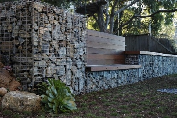 gabion retaining wall seat - Gabion Walls Design