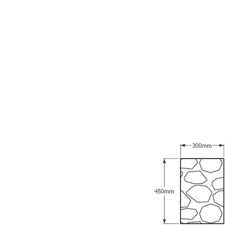 450mm tall x 300mm gabion wall