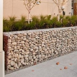 rounded river rock gabions