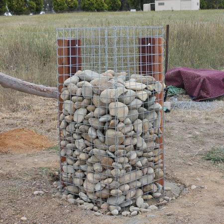 gabion supported pillar - Gabion Walls Design