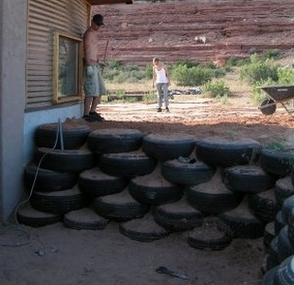 car tyre retaining wall