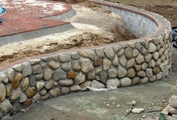 Concrete Block Faced With River Rock Gabion1 Australia