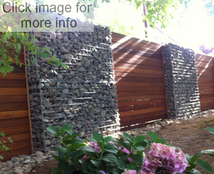 gabion fence with timber