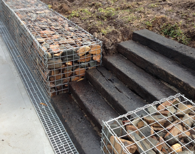 gabion with railway sleepers