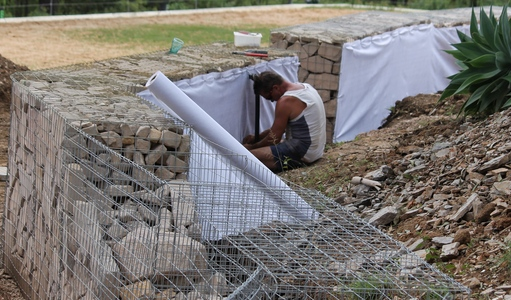 Gabion Walls Design gabion retaining wall design home ideas design Gabion Geotech Fabric