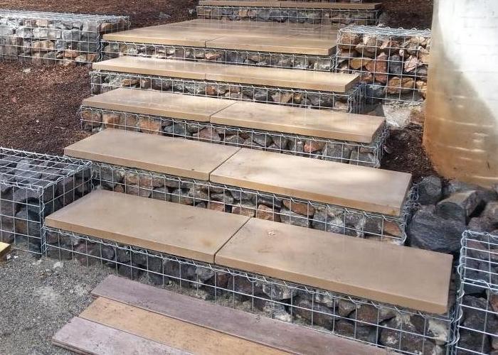 gabion step paver capped