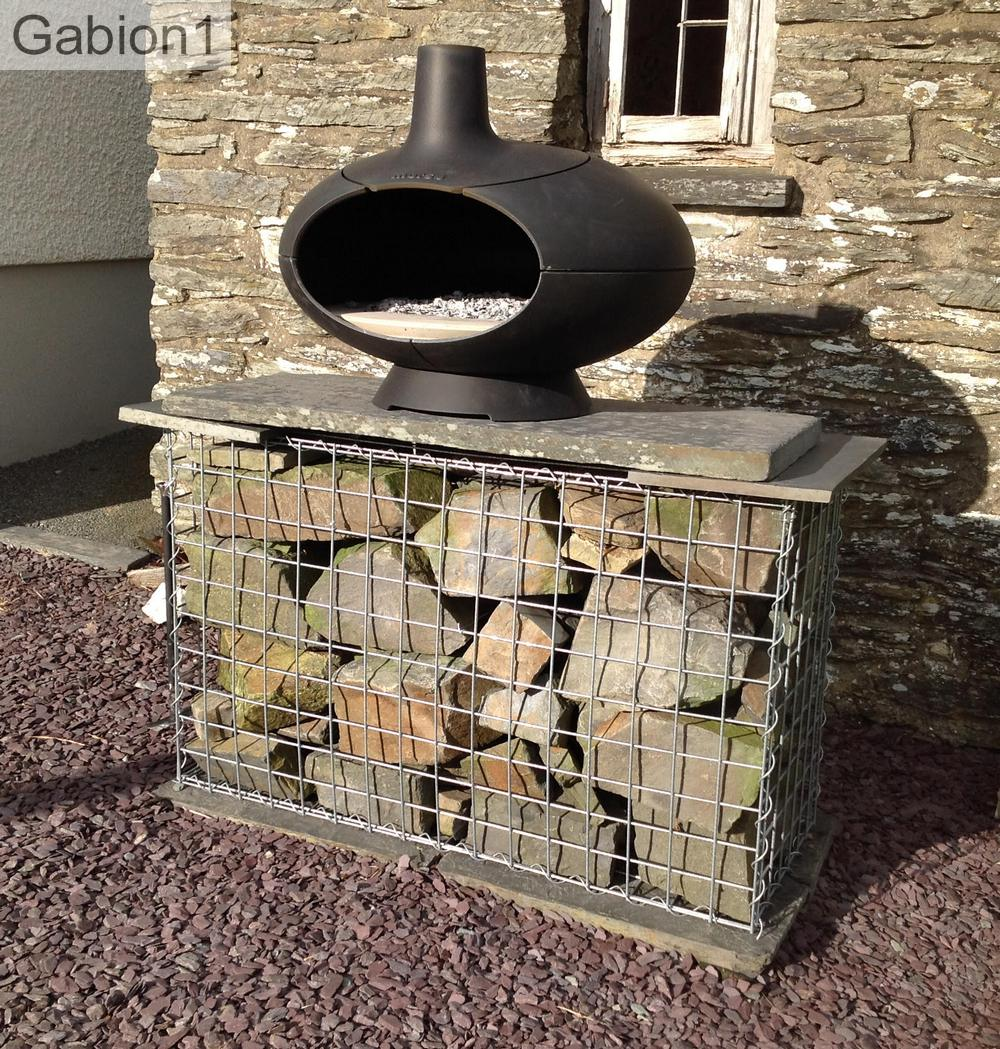 outdoor fire gabion base