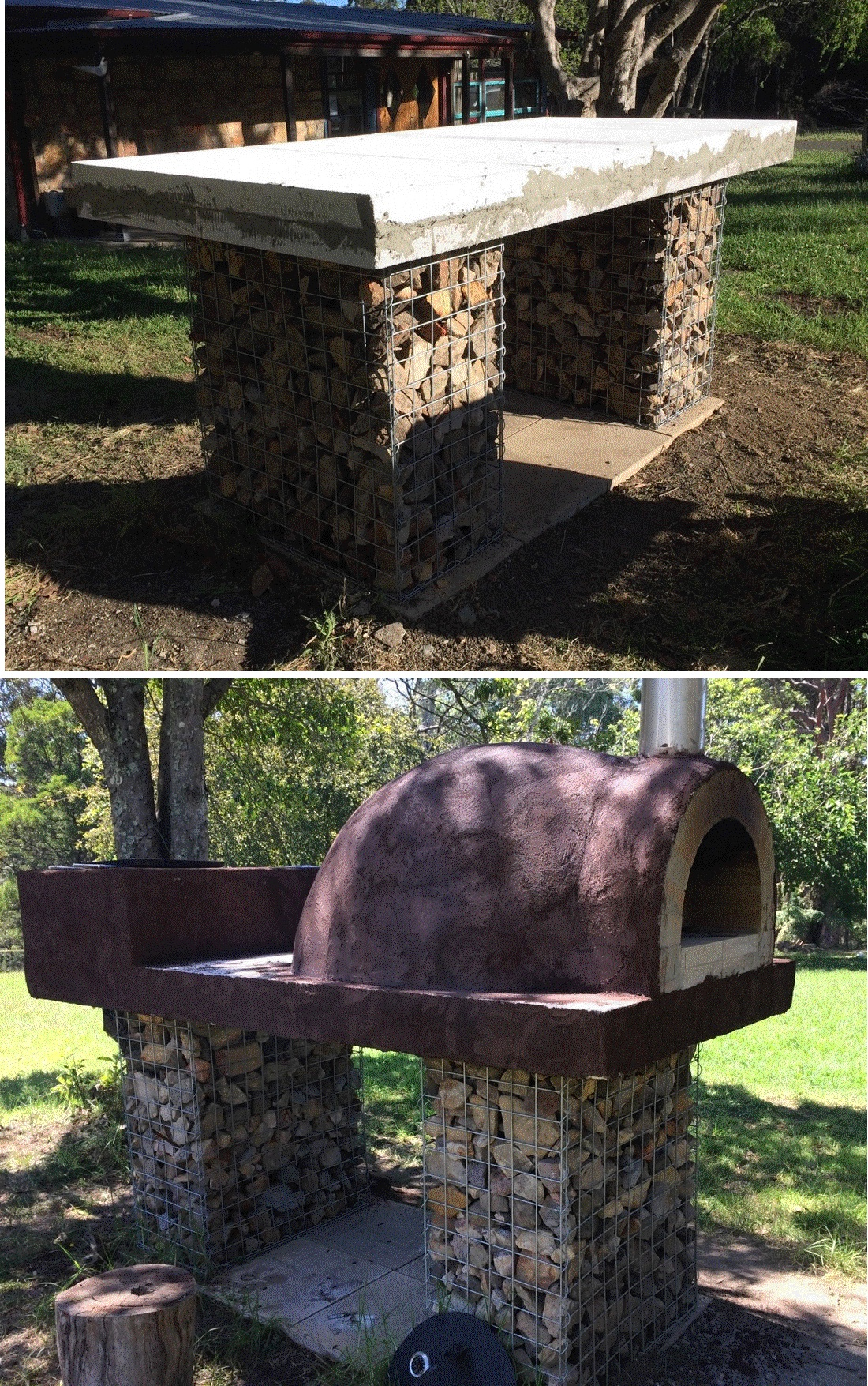 Gabion supports for pizza oven