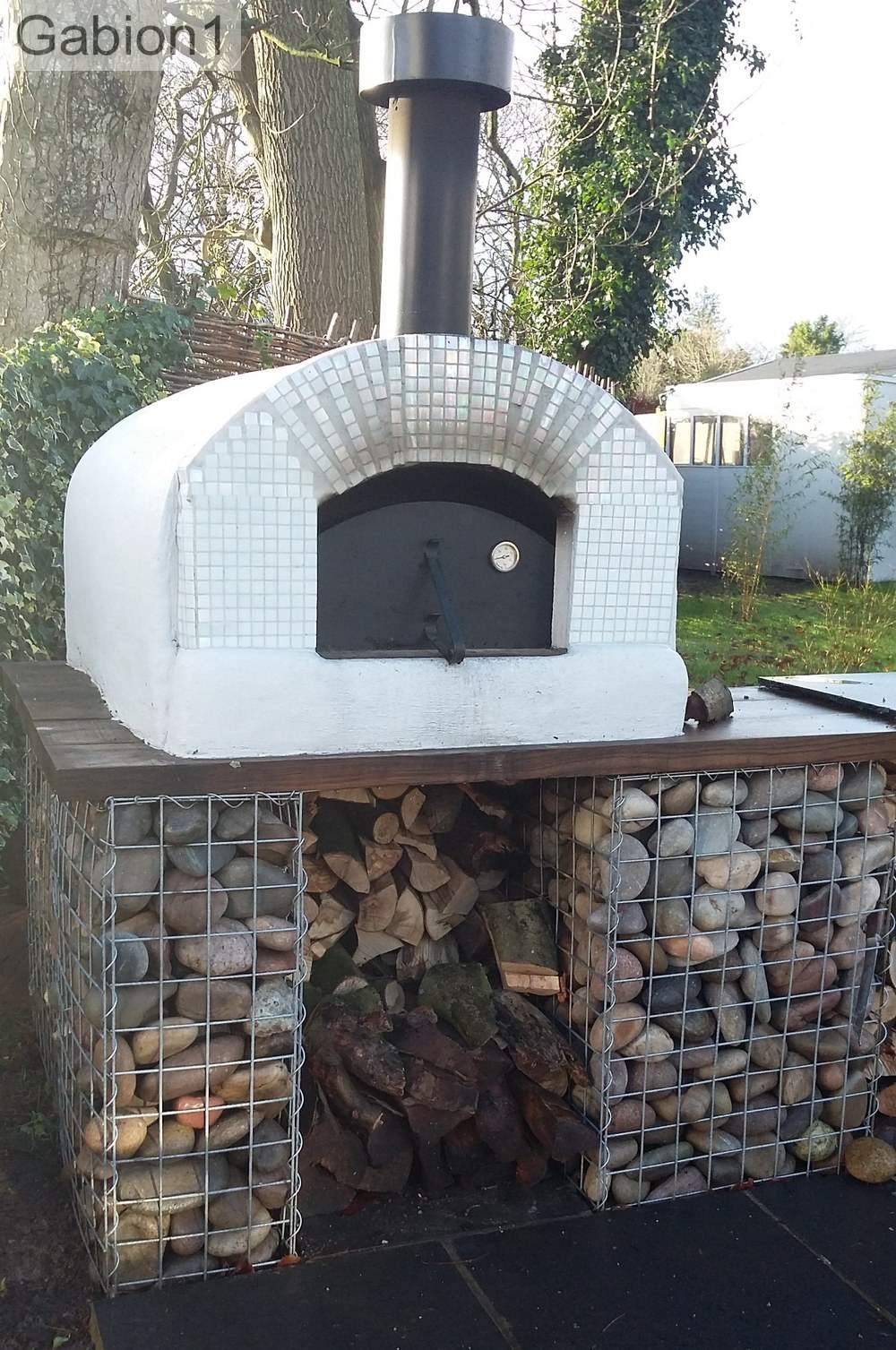 gabion base under pizza oven