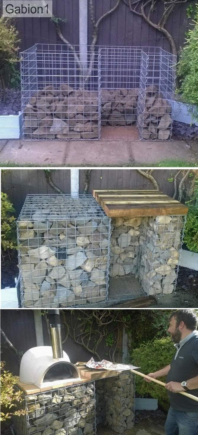 gabion pizza oven base