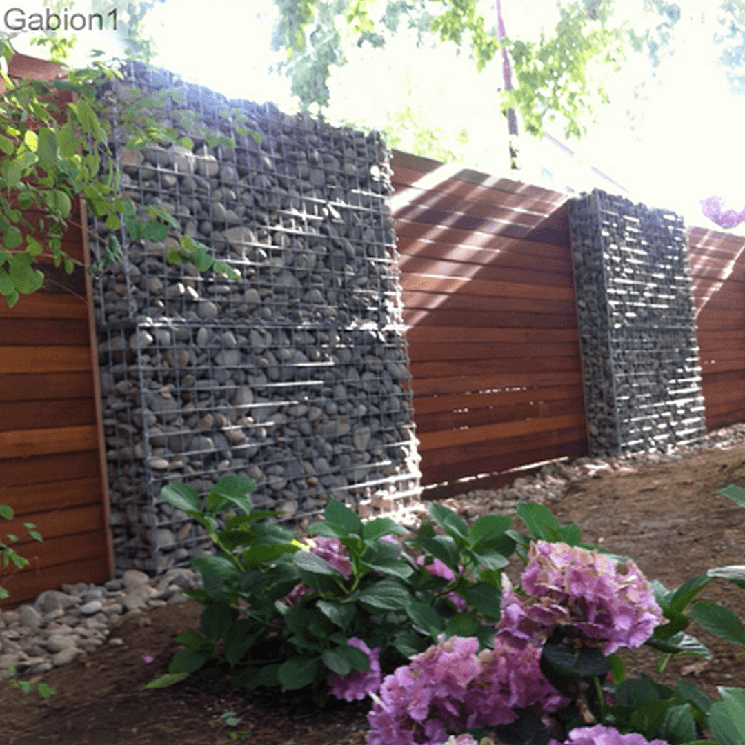 gabion wall with timber fence