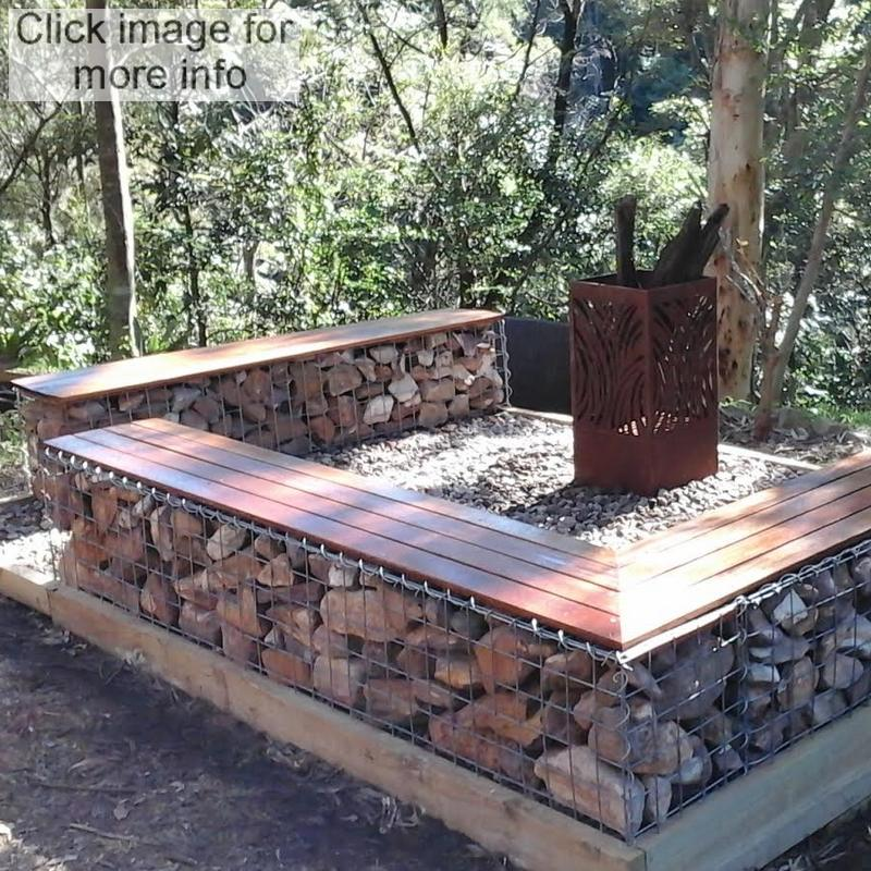 gabion fire pit seationg