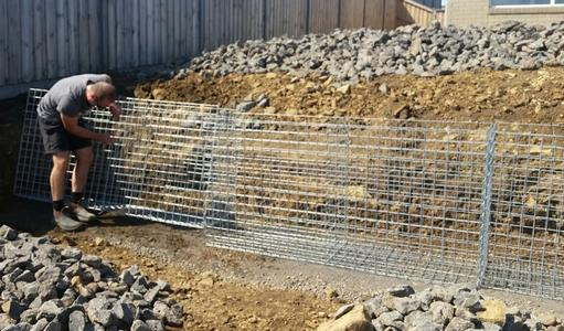 gabion baskets ready to fill
